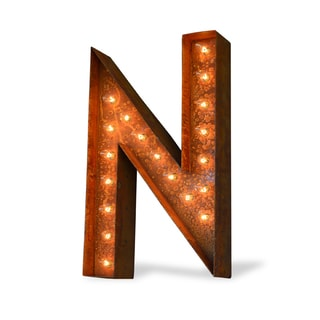 Indoor/ Outdoor Rusted Steel Alphabet Letter 'N' Iconic Marquee Light