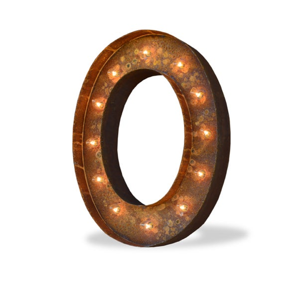 Indoor/ Outdoor Rusted Steel Alphabet Letter 'O' Iconic Profession/Commercial MarqueeLight