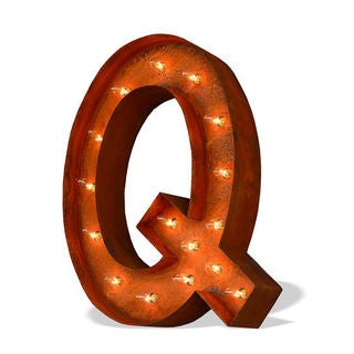 Indoor/ Outdoor Commercial Grade Rusted Steel Alphabet Letter 'Q' Iconic Marquee Light