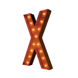 Indoor/ Outdoor Commercial Grade Rusted Steel Alphabet Letter 'X' Iconic Marquee Light