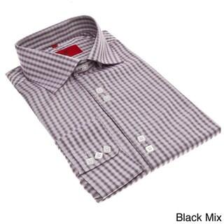 Elie Balleh Men's Slim Fit Gingham Plaid Dress Shirt