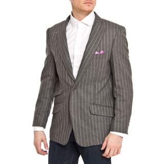 Elie Balleh Men's Slim Fit Wool-blend Pinstriped Blazer (Option: Silver)