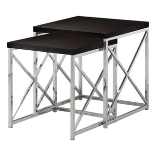 Capucino Hollow-Core Chrome Metal Nesting Tables (2-pieces)