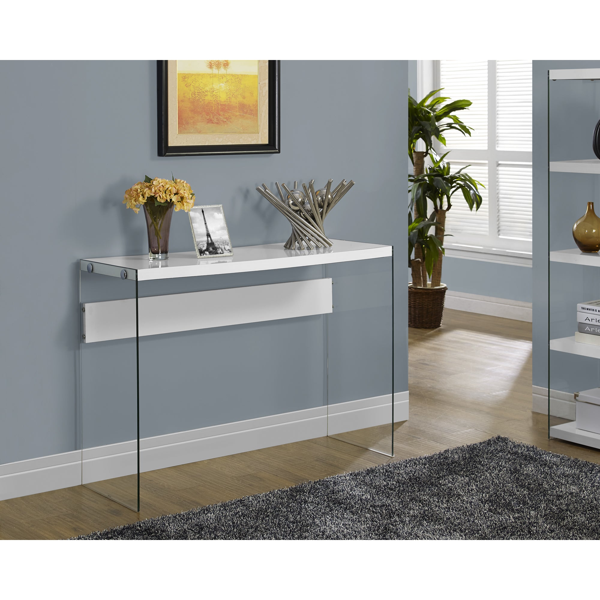 Glossy White Hollow Core Tempered Glass Sofa Table