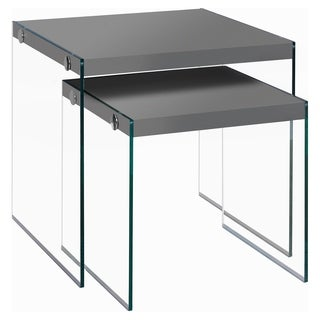 Glossy Grey Tempered Glass 2-piece Nesting Table Set