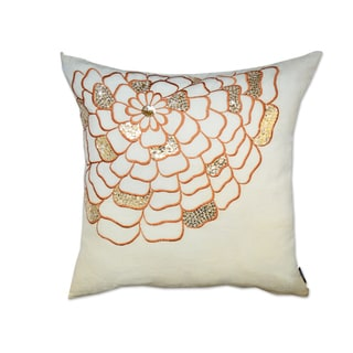 Hand-embroidered Orange/ White Sequin Throw Pillow