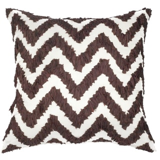Brown Ruched Chevron Throw Pillow