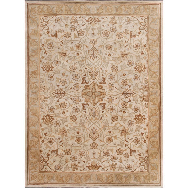 Shop ABC Accents Hand-tufted Traditional Beige Wool Rug (9