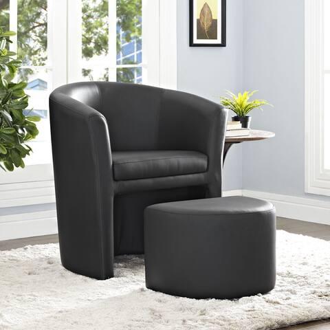 Divulge Modern Leatherette Armchair and Ottoman