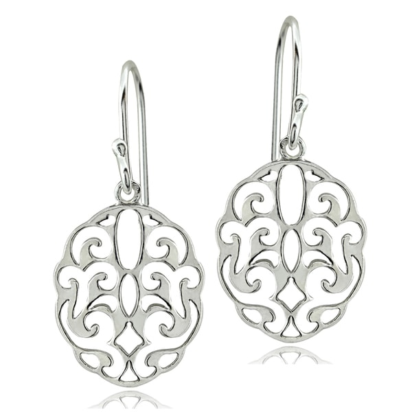 Mondevio Sterling Silver Scroll Filigree Earrings