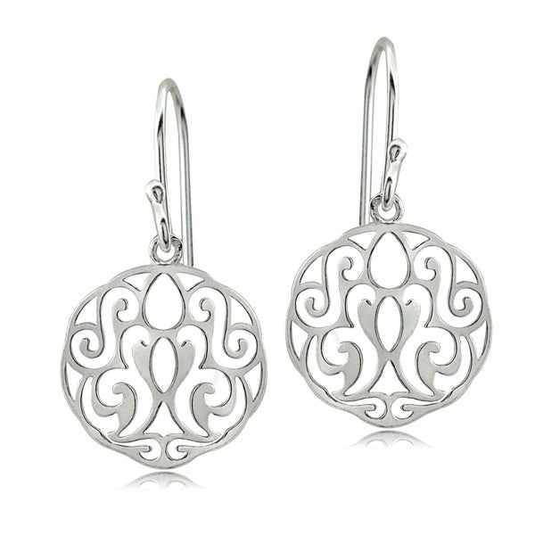 Mondevio Sterling Silver Scroll Filigree Earrings