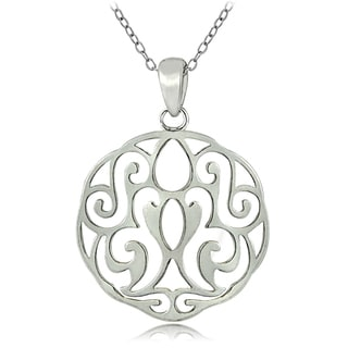 Mondevio Sterling Silver Scroll Filigree Necklace