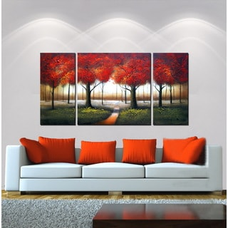 'Red Autumn' 3-piece Hand-painted Gallery-wrapped Canvas Art Set