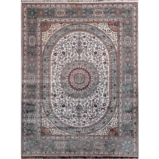 Hand-knotted Vintage Ivory Silk Rug (9' x 12')