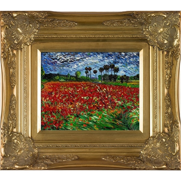 Vincent Van Gogh Field of Poppies Hand-painted Framed Canvas Art. Opens flyout.