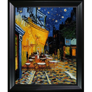 Vincent Van Gogh Cafe Terrace at Night Hand-painted Framed Canvas Art