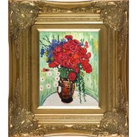 Vincent Van Gogh Vase with Daisies and Poppies Hand-painted Framed Canvas Art