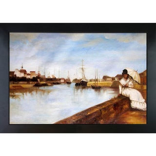 Berthe Morisot The Harbor at Lorient Hand-painted Framed Canvas Art