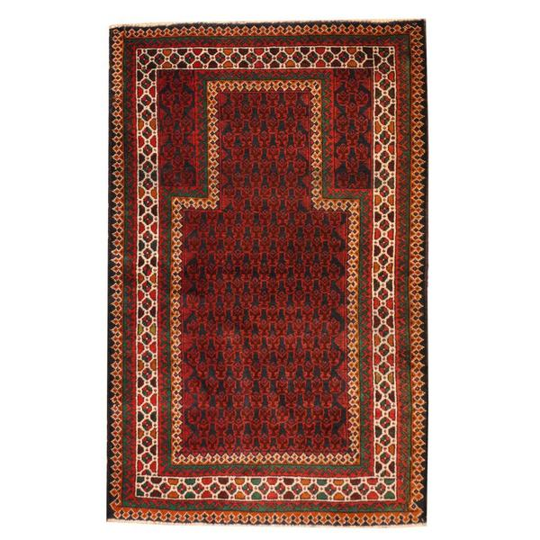 Herat Oriental Semi-antique Afghan Hand-knotted Tribal Balouchi Navy/ Ivory Wool Rug (2'10 x 4'6)