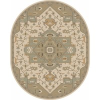 Hand-tufted Misty Traditional Wool Rug (8' x 10' Oval)