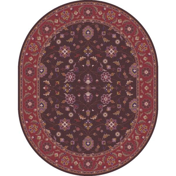 Hand-tufted Ricky Purple/Brown Wool Rug (8' X 10' Oval