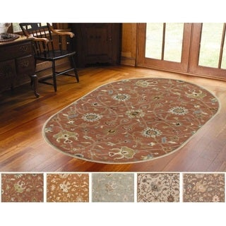 Hand-tufted Trey Traditional Wool Rug (8' x 10' Oval)