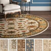 Hand-tufted Nick Traditional Wool Area Rug (9'9 Round)