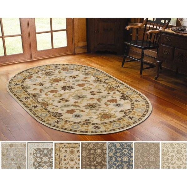 New Persian Hand Tufted Wool Oval Area Rug: Hand-tufted Nick Traditional Wool Rug (8' X 10' Oval