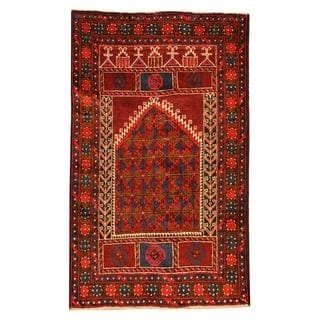 Herat Oriental Semi-antique Afghan Hand-knotted Tribal Balouchi Burgundy/ Ivory Wool Rug (2'8 x 4'5)