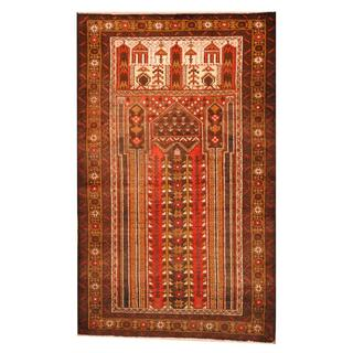 Herat Oriental Semi-antique Afghan Hand-knotted Tribal Balouchi Brown/ Ivory Wool Rug (2'9 x 4'6)