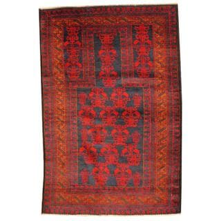 Herat Oriental Semi-antique Afghan Hand-knotted Tribal Balouchi Navy/ Gold Wool Rug (3'1 x 4'6)