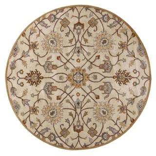 Hand-tufted Trey Traditional Wool Area Rug (Beige - 6 Round)