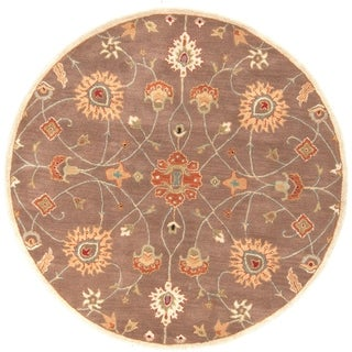 Hand-tufted Trey Traditional Wool Area Rug (Brown - 6 Round)