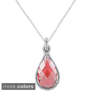 .925 Sterling Silver Birthstone Teardrop Cubic Zirconia Necklace