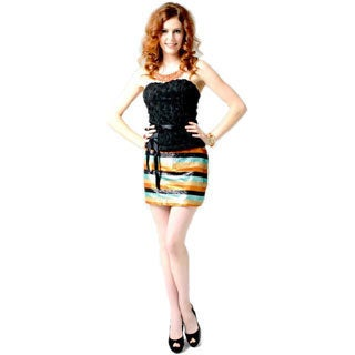 Sara Boo Women's Multicolor Striped Mini Skirt