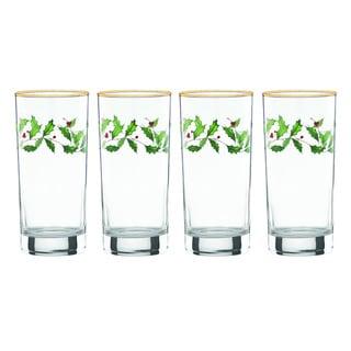 Lenox Holiday Decal 4-piece Highball Glass Set