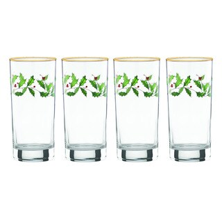 Lenox Holiday Decal 4-piece Highball Glass Set