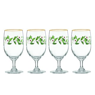 Lenox Holiday Decal 4-piece Iced Beverage Glass Set