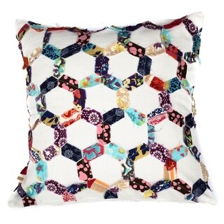 Hexagon Honeycomb Patchwork Cotton Throw Pillow