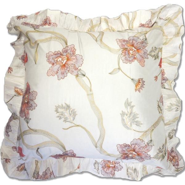 Floral White Silk Euro Sham