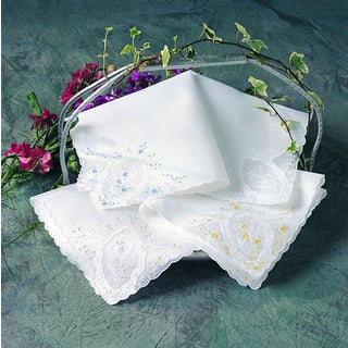 Embroidered Handkerchief - set of 12 (Option: White/Pink)