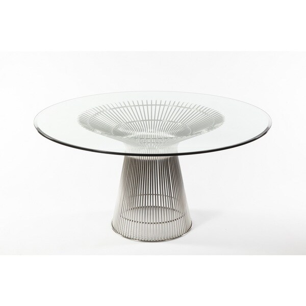 Hans Andersen Home Fishburne Round Glass Dining Table - Silver