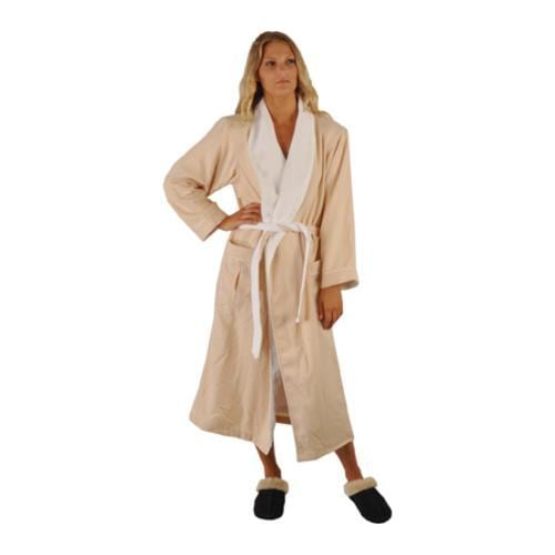 Chadsworth & Haig Ultimate Brushed Microfiber and Combed Cotton Eggshell and White Robe