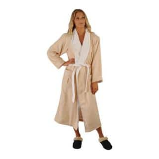 a3741897bf Chadsworth   Haig Ultimate Brushed Microfiber and Combed Cotton Eggshell  and White Robe