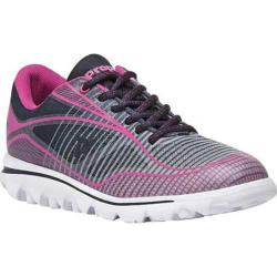 Women's Propet Billie Bungee Lace Walking Shoe Navy/Pink Mesh