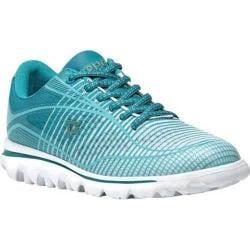 Women's Propet Billie Bungee Lace Walking Shoe White/Turquoise Mesh