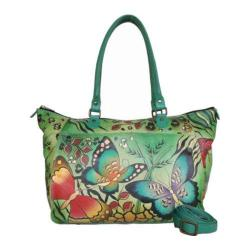 Women's ANNA by Anuschka Hand Painted Large Tote 8066 Animal Butterfly