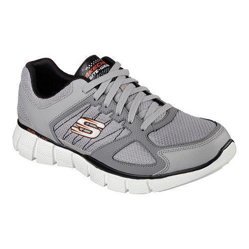 Mens Skechers Equalizer 2.0 On Track Memory Foam Training Shoe Light Gray/Black