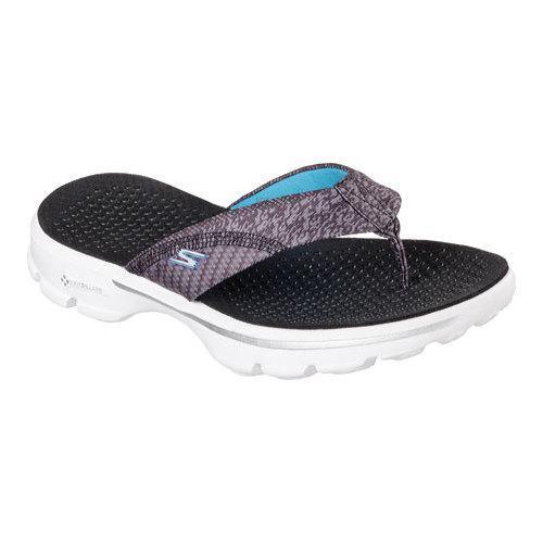3d2fbc16f Thumbnail Women  x27 s Skechers GOwalk 3 Pizazz Thong Sandal Black  ...