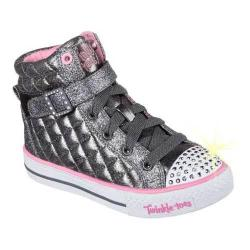 Girls' Skechers Twinkle Toes Shuffles Sweetheart Sole High Top Gun Metal